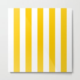 Philippine yellow -  solid color - white vertical lines pattern Metal Print