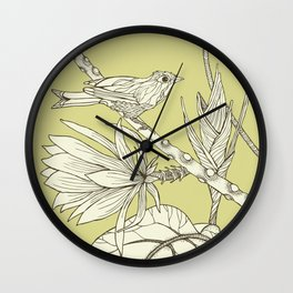 Bird on Orchid Cactus Wall Clock