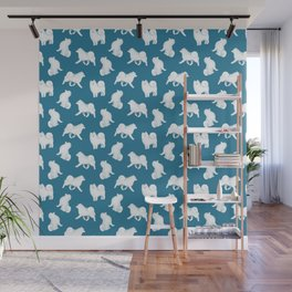 Samoyed Pattern (Blue Background) Wall Mural