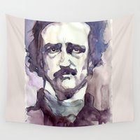 poe Wall Tapestries featuring Edgar Allan Poe by Germania Marquez