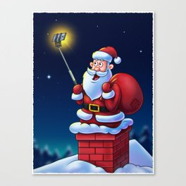 Cartoon Santa Claus with Selfie Stick - Digital Painting Canvas Print
