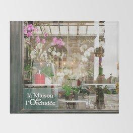Paris Flower Shop Window Throw Blanket