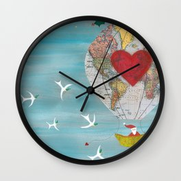 Christmas Santa Claus in a Hot Air Balloon for Peace Wall Clock