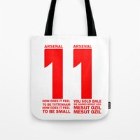 arsenal Tote Bags featuring Mesut Ozil Chant by Maxvtis