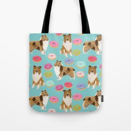 Rough Collie dog breed donut lover pet portrait custom design for dog lover by pet friendly Tote Bag