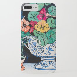 Nasturtium Bouquet in Chinoiserie Bowl on Dark Blue Floral Still Life Painting iPhone Case