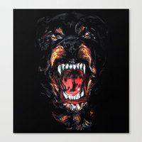 givenchy Canvas Prints featuring Givenchy Rottweiler by sixsociety