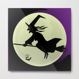 Witch and the Moon Metal Print
