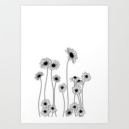 Minimal line drawing of daisy flowers Art Print