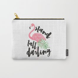 Black brush typography stand tall pink flamingo Carry-All Pouch