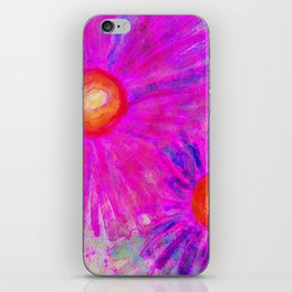 Bright Pink Sketch Flowers iPhone Skin