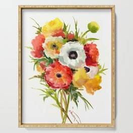 Flowers, Buttercups, orange red white yellow garden floral design Serving Tray