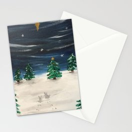 Christmas Snowy Winter Landscape Stationery Cards