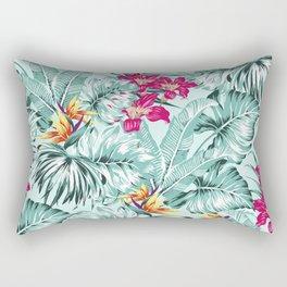 Bird of Paradise Greenery Aloha Hawaiian Prints Tropical Leaves Floral Pattern Rectangular Pillow