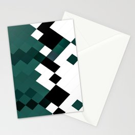 Emerald Green White Black Geometrical Pattern Stationery Cards