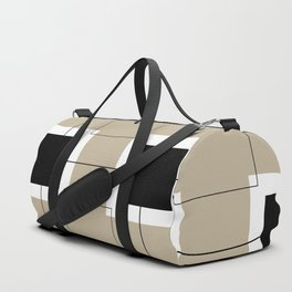 White Hairline Squares in Light Brown Duffle Bag