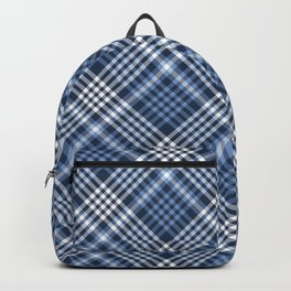 Navy Blue Plaid Backpack