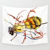 bee Wall Tapestries featuring Bee by Lauren Thawley