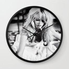 Brigitte Bardot Playing Cards, Black and White Photograph Wall Clock