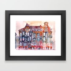 Apartment House in Poznan and orange umbrellas Framed Art Print