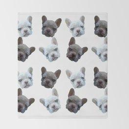 French Bulldog pattern (Black and White(No background)) Throw Blanket