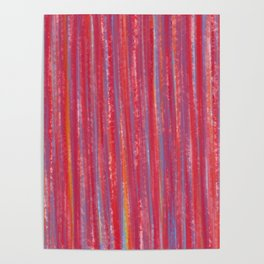 Stripes  - Candy pink red orange and blue Poster