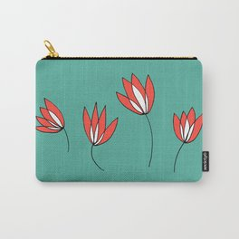 Whimsical Red and Teal Flowers by Emma Freeman Designs Carry-All Pouch