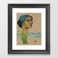 LONELY MERMAID Framed Art Print