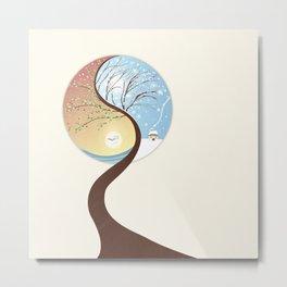 OPPOSITES LOVE - Yin-Yang Tree: Summer-Winter Metal Print