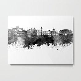 Nice skyline in black watercolor on white background Metal Print