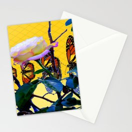 MONARCH BUTTERFLIES & ROSE ABSTRACT Stationery Cards