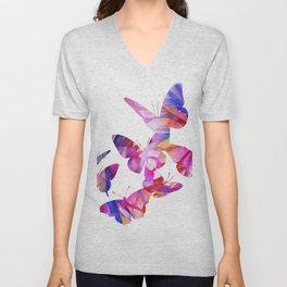 Pink Butterflies Unisex V-Neck