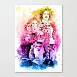 River Song/Doctor Who/Alex Kingston inspired Mixed Media Watercolor Portrait Canvas Print