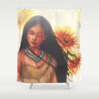 pocahontas Shower Curtains featuring Pocahontas by Stephanie Sanchez
