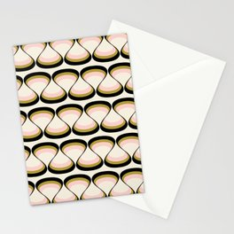 Olive Green, Pink, and Black Retro Wavy Line Pattern Stationery Cards