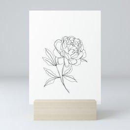 Botanical illustration line drawing - Peony Mini Art Print