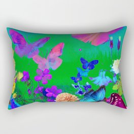 Green Butterflies & Flowers Rectangular Pillow