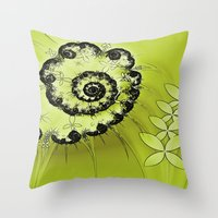 lime green Throw Pillows featuring Lime by Shalisa Photography