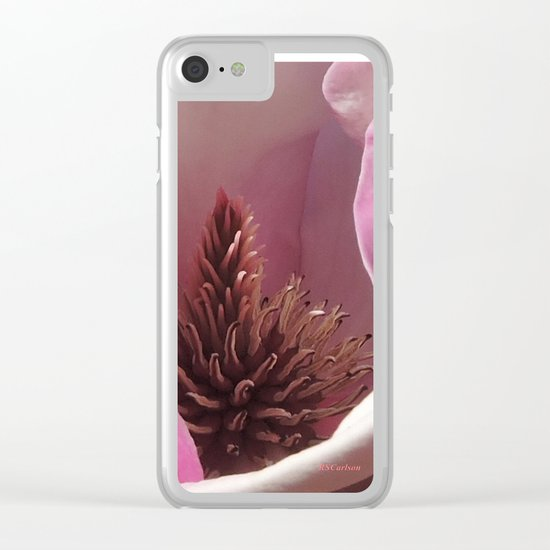Magnolia Blossom Heart Clear iPhone Case