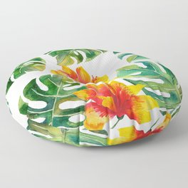 Monstera And Hibiscus Floor Pillow
