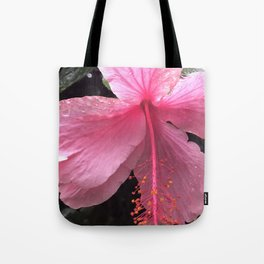 Dewdrops on Tropical Pink Flower Tote Bag