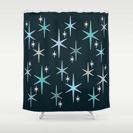 Mid Century Modern Star Sky Blue Shower Curtain