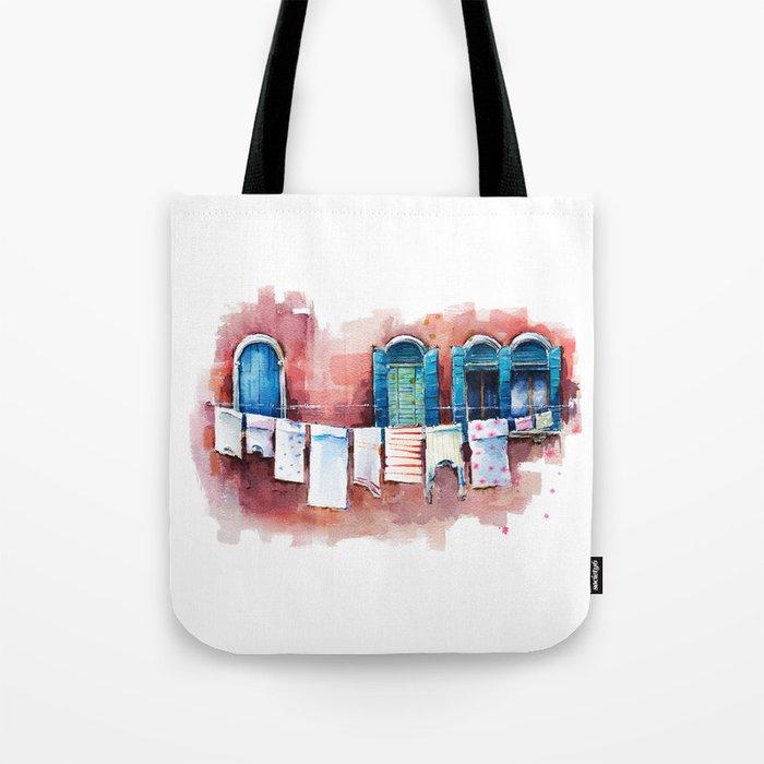 Venice windows, watercolor sketch Tote Bag