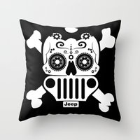 jeep Throw Pillows featuring Jeep Logo Sugar Skull by Black Paw Canvas