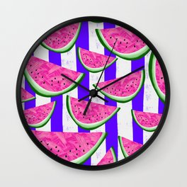 Watermelon Crush on purple stripes Wall Clock