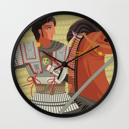 alexander the great mosaic riding a horse Wall Clock