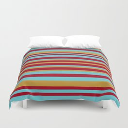 Golden, Red Wine and Turquoise Vintage Stripes Duvet Cover