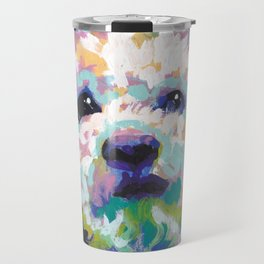 maltese poodle Maltipoo Dog Portrait Pop Art painting by Lea Travel Mug