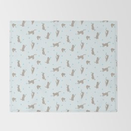 Polka Dot Cats in Blue Throw Blanket