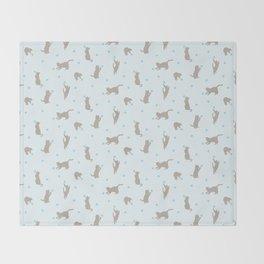 Polka Dot Cats in Blue Throw Blanket
